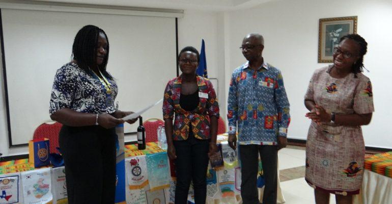 Club President Jennifer, Rtn. Tsiaba, PDG Robert Atta & CP Sika, Rtn. Tsiaba's sponsor.